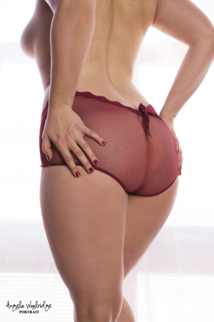 Columbus boudoir photography, woman's booty in red panties
