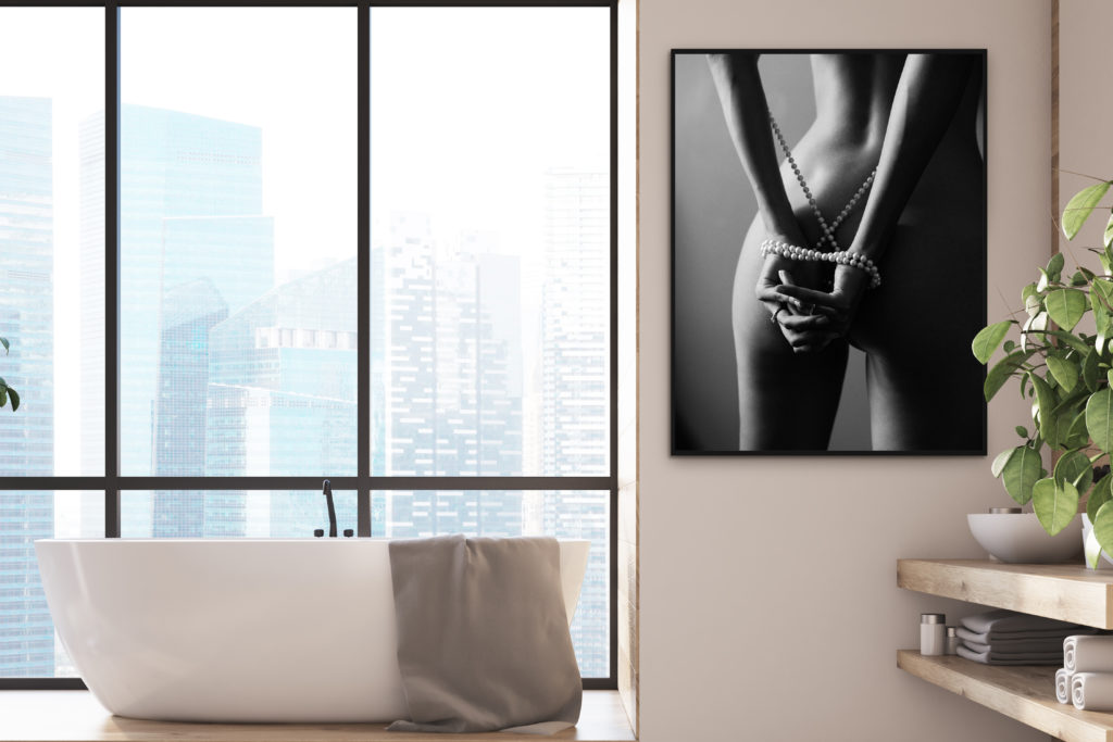Black and White Boudoir wall art in a bathroom